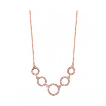 Graduated Eternity Circle CZ Necklace In Sterling Silver