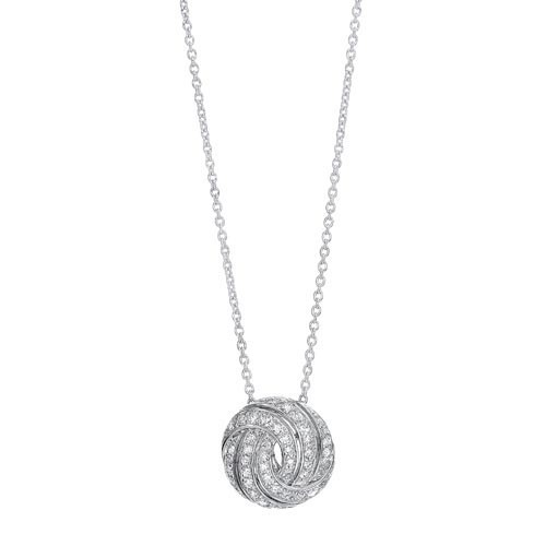 Love Knot Swirl CZ Pendant Necklace In Sterling Silver