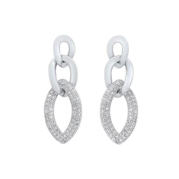 Triple Chain Dangle CZ Earrings In Sterling SIlver