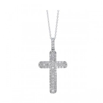 Classic Cross Pendant CZ Necklace In Sterling Silver