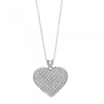 Pave Heart CZ Pendant Necklace In Sterling Silver