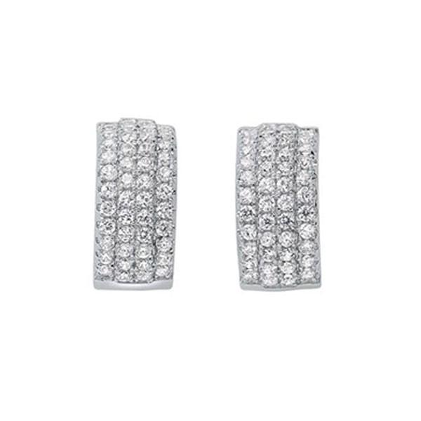 Triple Row Huggie Hoop CZ Earrings In Sterling Silver