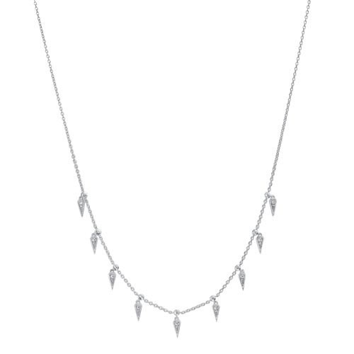 Diamond Icicle Drop Charm Pendant Necklace In Sterling Silver (1/10ctw)