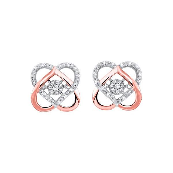 Love Knot Diamond Earrings In Two-Tone 10K Gold (1/10 Ct. Tw.)