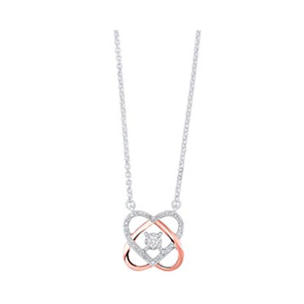 Love Knot Diamond Pendant In Two-Tone 10K Gold (1/12 Ct. Tw.)