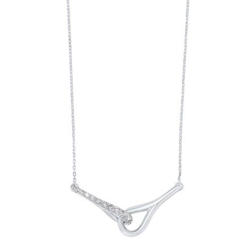 Interlocking Bar Diamond Pendant In 14K White Gold (1/2 Ct. Tw.)