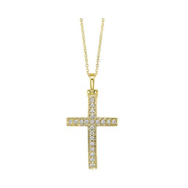 Diamond Cross Pendant In 14K Yellow Gold (1/10ctw)