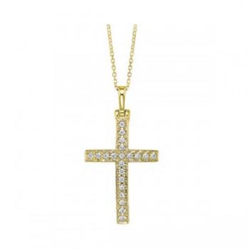 Diamond Cross Pendant In 14K Yellow Gold (1/3ctw)