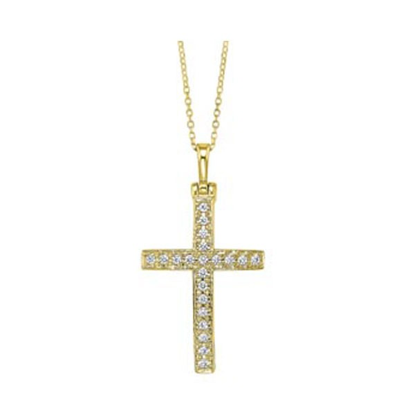 Diamond Cross Pendant In 14K Yellow Gold (1/3ctw)