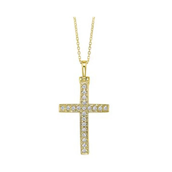 Diamond Cross Pendant In 14K Yellow Gold (1/2ctw)