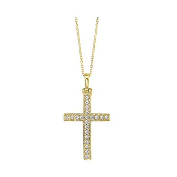 Diamond Cross Pendant In 14K Yellow Gold (1ctw)