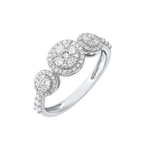 Diamond Triple Halo Solitaire Engagement Ring In 14k White Gold (1/2 Ctw)