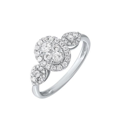 Diamond Antique Oval Triple Halo Engagement Ring In 14k White Gold (1/2 Ctw)
