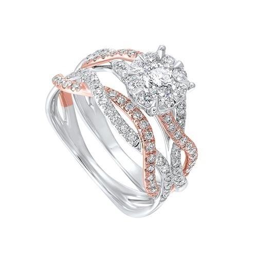 Diamond Halo Multi-Band 14k Two-Tone Gold Engagement Ring Set (1 Ctw)