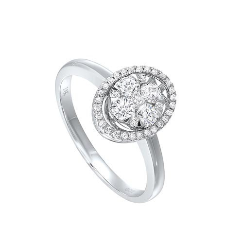Oval Diamond Halo Ring In 14K White Gold (1/2 Ct. Tw.)
