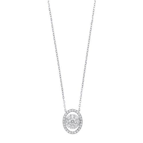 Oval Diamond Halo Pendant In14K White Gold (1/2 Ct. Tw.)