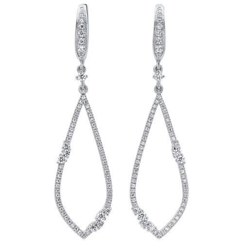 Open Teardrop Diamond Earrings In 14K White Gold (1/2 Ct. Tw.)