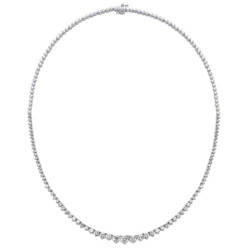 Diamond Anniversary Necklace In 14k White Gold (5 Ctw)