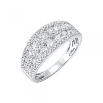 Diamond 5-Row Wedding Band In 14k White Gold (1 Ctw)