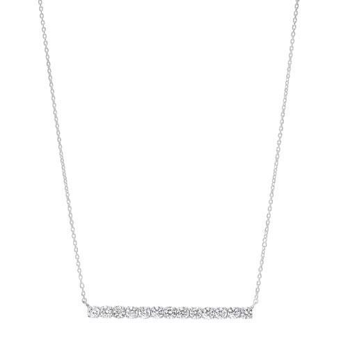Diamond Bar Pendant Layer Necklace In 14k White Gold (1/2 Ctw)