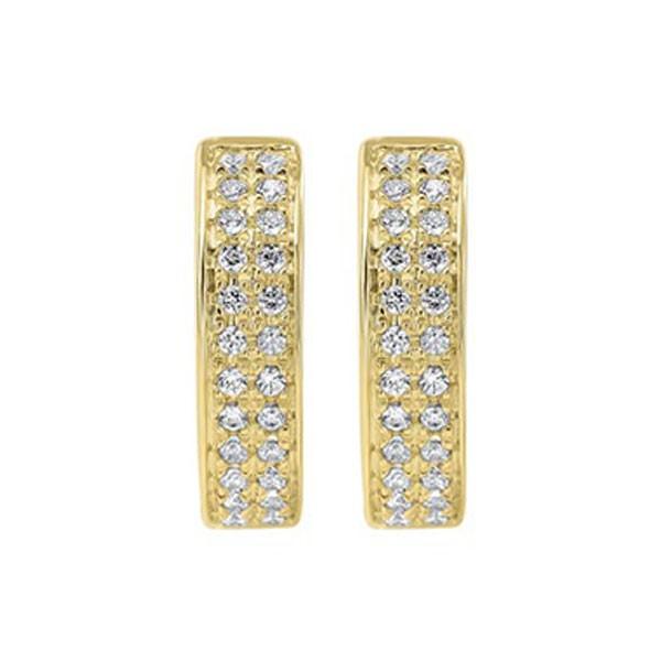 Diamond Double Row Hoop Earrings In 14k Yellow Gold (1/4ctw)
