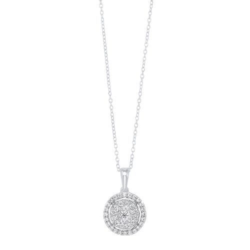 Diamond Halo Cluster Eternity Pendant Necklace In 14k White Gold (1/2ctw)