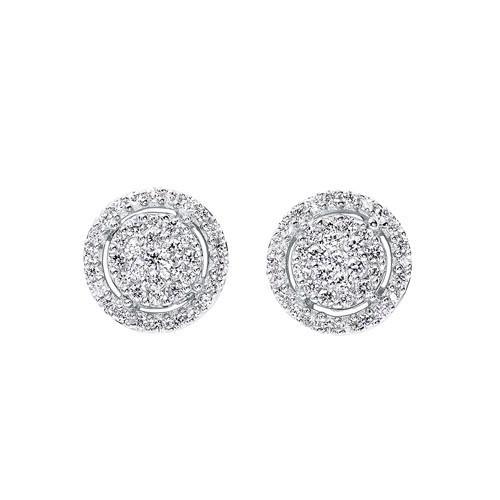 Diamond Halo Cluster Eternity Earrings In 14k White Gold (1/2ctw)