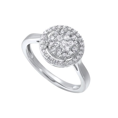 Diamond Halo Cluster Engagement Ring In 14k White Gold (? Ctw)