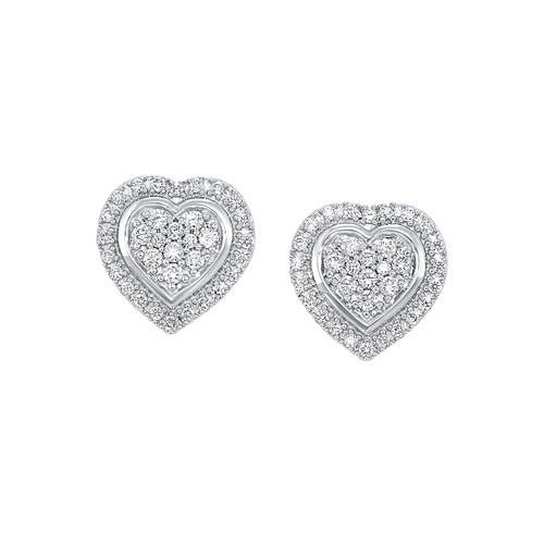 Diamond Halo Heart Cluster Stud Earrings In Sterling Silver (1/5ctw)