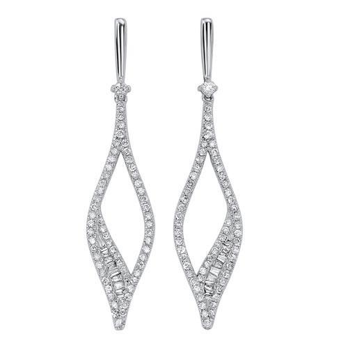 Diamond Teardrop Kite Dangle Earrings In 14k White Gold (3/4 Ctw)
