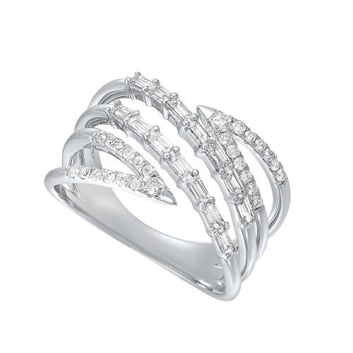 Diamond Bypass Waterfall Band In 14k White Gold (1/2 Ctw)