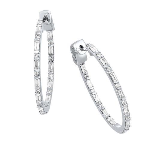 Diamond Inside Out Eternity Hoops In 14k White Gold (1 Ctw)