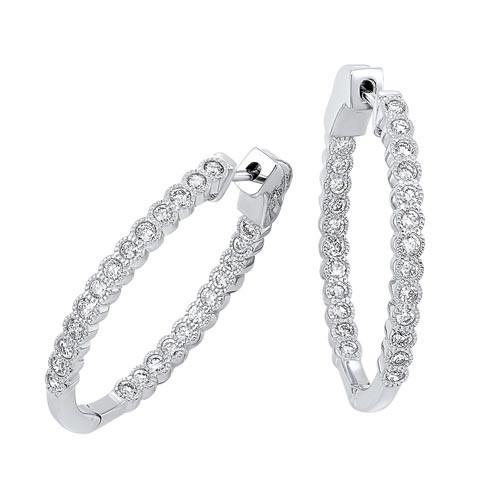 Diamond Bubble Inside Out Hoop Earrings In 14k White Gold (1 Ctw)