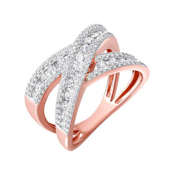 Diamond Double Crossover Ring In 14k Gold (1 Ctw)