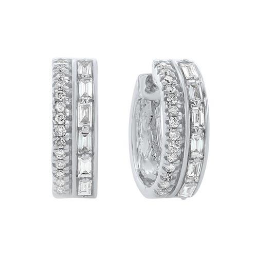 Diamond Double Row Chunky Hoop Earrings In 14k White Gold (3/8ctw)