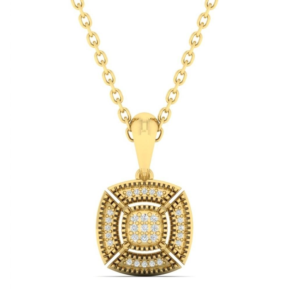 Diamond Cushion Medallion Vintage Pendant Necklace In 14k Yellow Gold (0.05ctw)