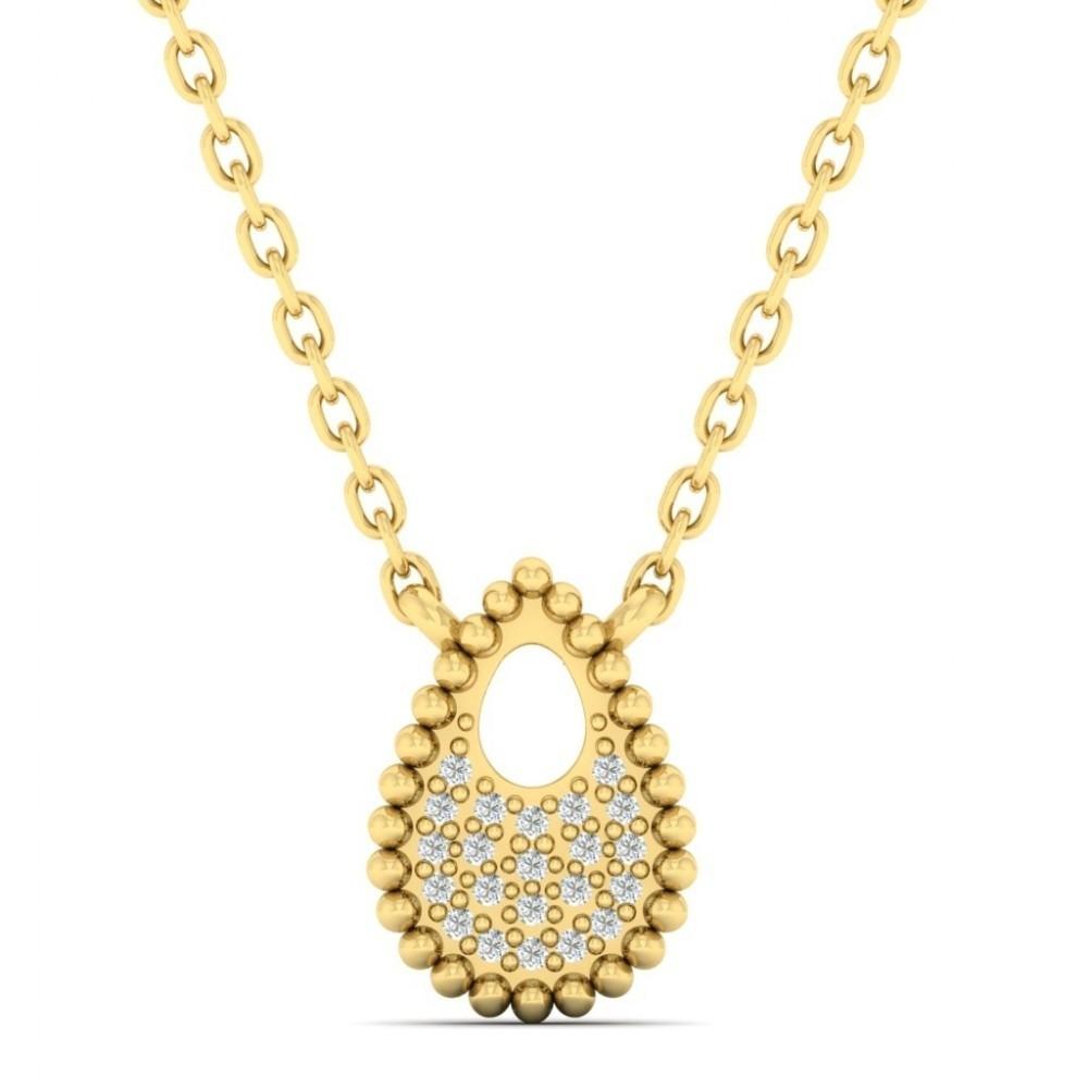 Diamond Starlight Sky Teardrop Pendant Necklace In 14k Yellow Gold (0.04ctw)