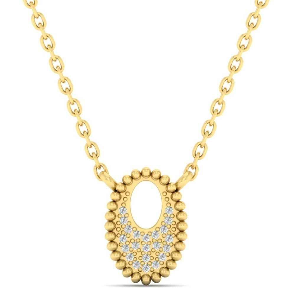 Diamond Medallion Starlight Oval Necklace In 14k Yellow Gold Necklace (0.04ctw)