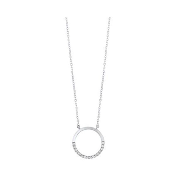 Diamond Pave Half-Eternity Circle Pendant Necklace In 14k White Gold (0.08ctw)