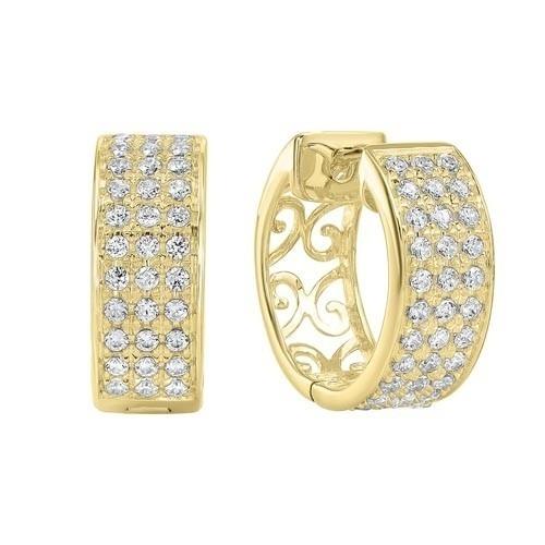 Diamond Chunky Filigree Hoop Earrings In 14k Yellow Gold (1/2ctw)
