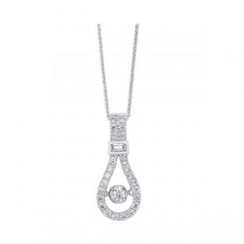 Diamond Anniversary Door Knocker Pendant Necklace In 14k White Gold (1/3ctw)