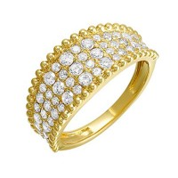 Diamond Studded Milgrain Ring In 14K Yellow Gold (1 Ct. Tw.)