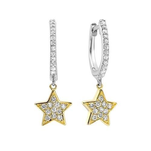 Diamond Star Drop Earrings In Two-Tone 14K Gold (1/4 Ct. Tw.)