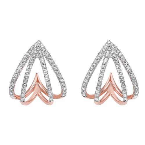 Diamond Spade Earrings In 10K Rose Gold (1/4 Ct. Tw.)