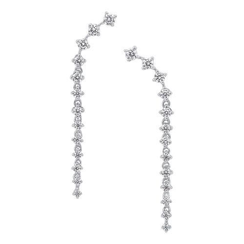 Linear Diamond Drop Earrings In 10K White Gold (1/2 Ct. Tw.)
