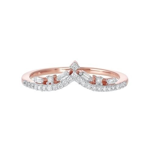 Diamond V-Shaped Stackable Wedding Band In 14k Gold (1/5 Ctw)