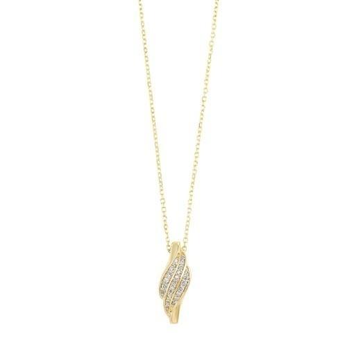 Diamond Swirl Pendant Necklace In Yellow Gold (1/10ctw)
