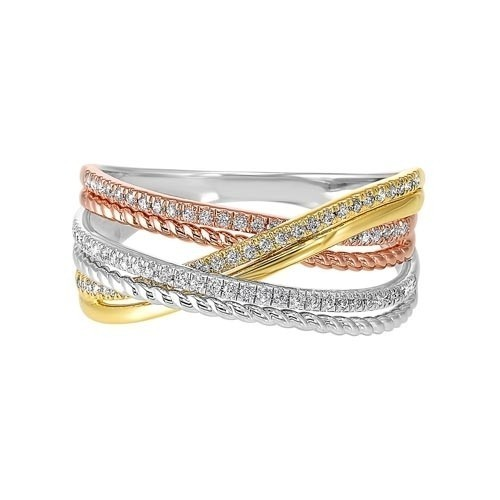 Diamond Luxe Braided Multi-Band In Tri-Color Gold (1/5ctw)