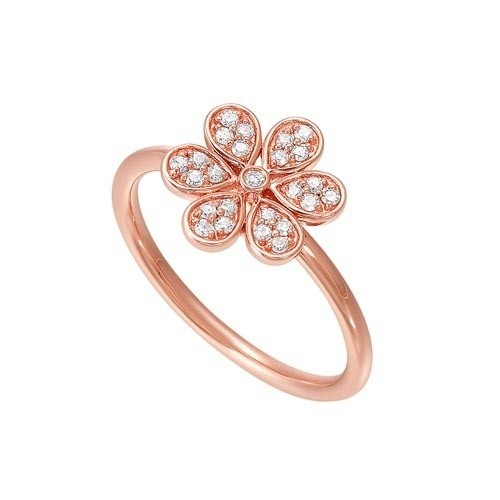 Diamond Blooming Daisy Flower Ring In Gold (1/7ctw)
