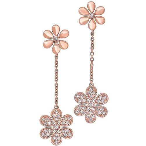 Diamond Double Daisy Flower Dangle Earrings In Gold (1/4 Ctw)